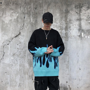 Retro Flame Pattern O-neck Oversize Sweater - Men - Jamesen