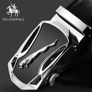 Automatic Buckle Black Genuine Leather Belt - Men - Jamesen