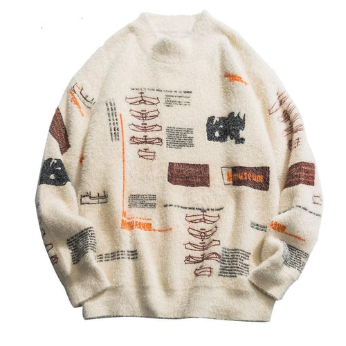 Graffiti Knitted Pullover Jumper - Men - Jamesen