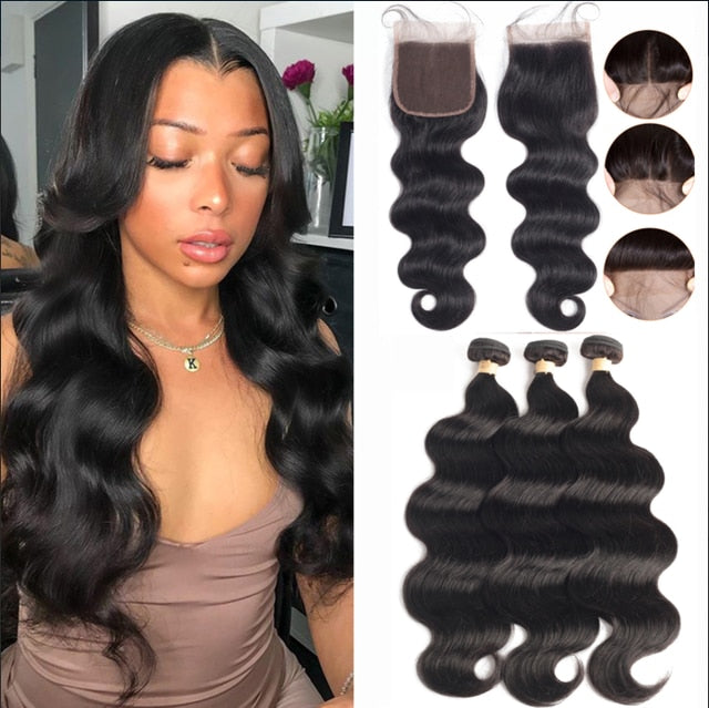 Brazilian Hair Weave 3 Bundles With Closure - Jamesen