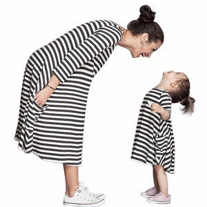 JECKSION Black White Striped Women Dress