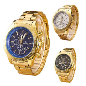 GENVIVIA Men Luxury Brand Gold watch