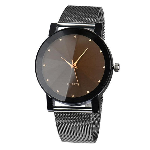 Stainless Steel Watch Men Crystal Quartz