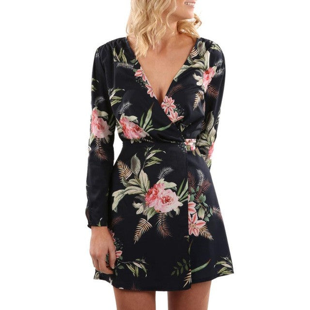 Flora Printed V Collar  Long Sleeve Mini Party Dress