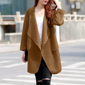 Warm Winter Women Coat Long Sleeve Knitted Wool Cardigan Solid
