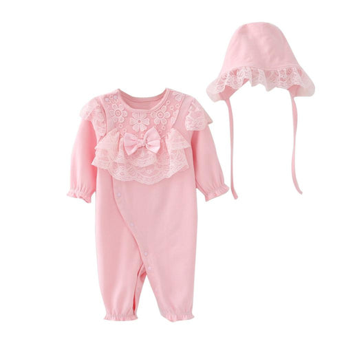 Baby Girls Romper Jumpsuit + Lace Hat - Jamesen