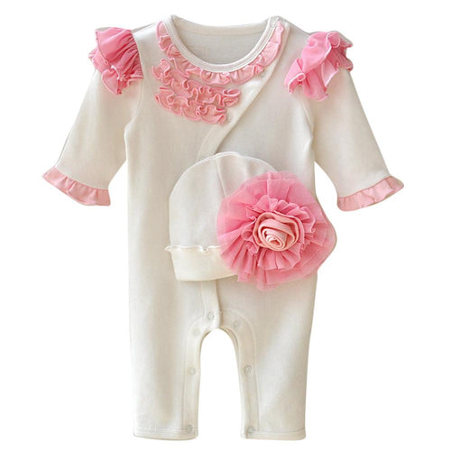Baby Girl Solid Bodysuit + Hat - Jamesen