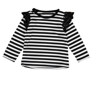 Spring Autumn T shirt 2017 Brand baby girls fly long sleeve lace - tops