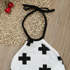 Newborn Romper Cute Baby Infant Girls Halter straps Belt Clothes