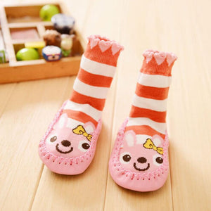 Baby Unisex Rabbit Stripe Cartoon Anti-slip Warm Cotton Short Socks - Jamesen
