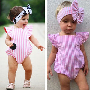 Sleeveless Summer Baby Girl Striped Bowknot Rompers