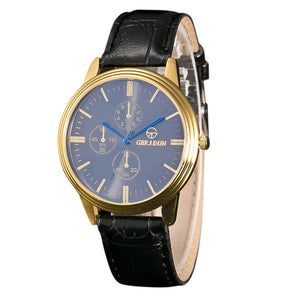 Men Leather Band Sport Analog Watch