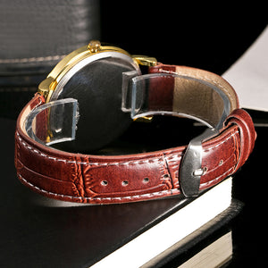 Men Leather Band Sport Watch