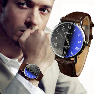 Luxury Fashion Faux Leather Men Watch