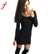 Load image into Gallery viewer, Sexy Solid Long Sleeve Mini Dress - Women