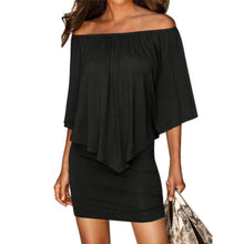Load image into Gallery viewer, Sexy Off Shoulder Sleeveless Ruffles Bodycon Mini Dress  - Women