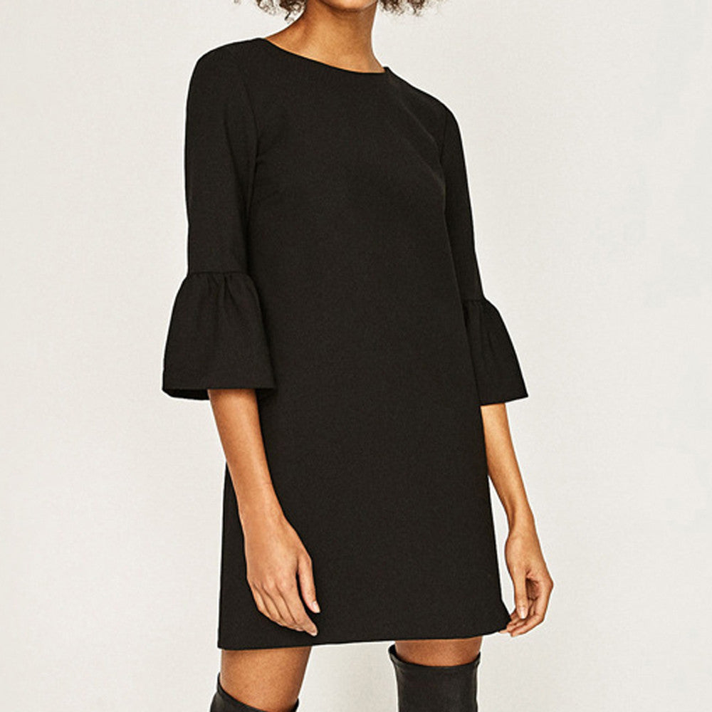 Three Quarter Sleeve Dress Solid Casual - Women