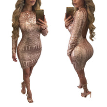 Load image into Gallery viewer, Women Sequins Dress with Sleeves Sexy Backless Dress