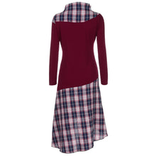 Load image into Gallery viewer, Women High Neck Plaid Pattern Patchwork Dress Long Sleeve Dress