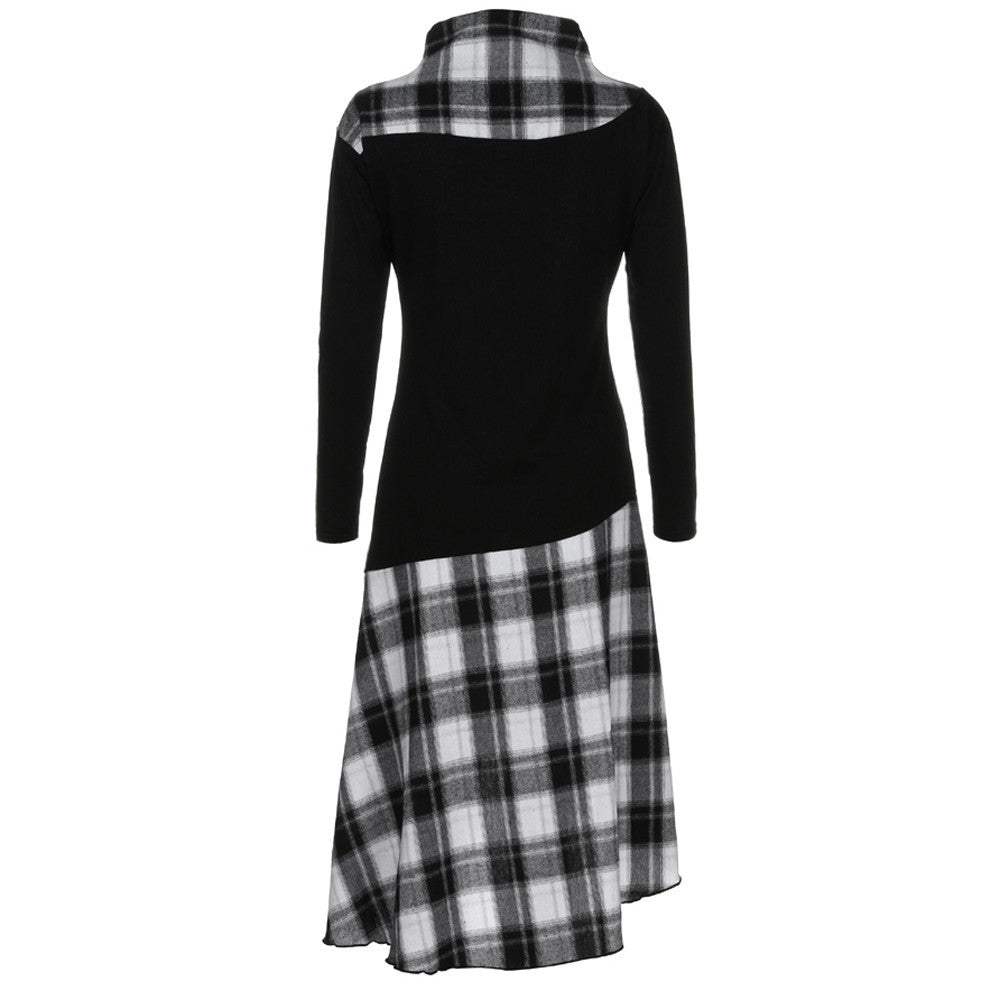 Women High Neck Plaid Pattern Patchwork Dress Long Sleeve Dress