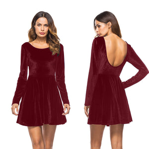 Women Long Sleeve Backless Party Dress