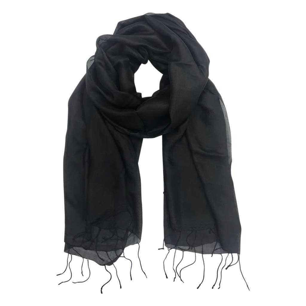 Black Khmer Silk Scarf