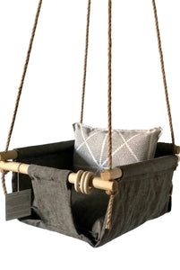 Scout Baby Co. - Organic Gray Linen Baby Swing