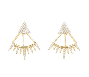 Melrose CZ Triangle Spike Earrings