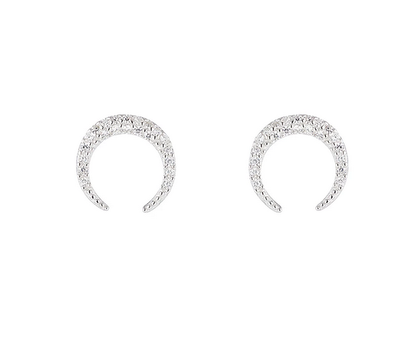 Melrose Pavé CZ Crescent Earrings