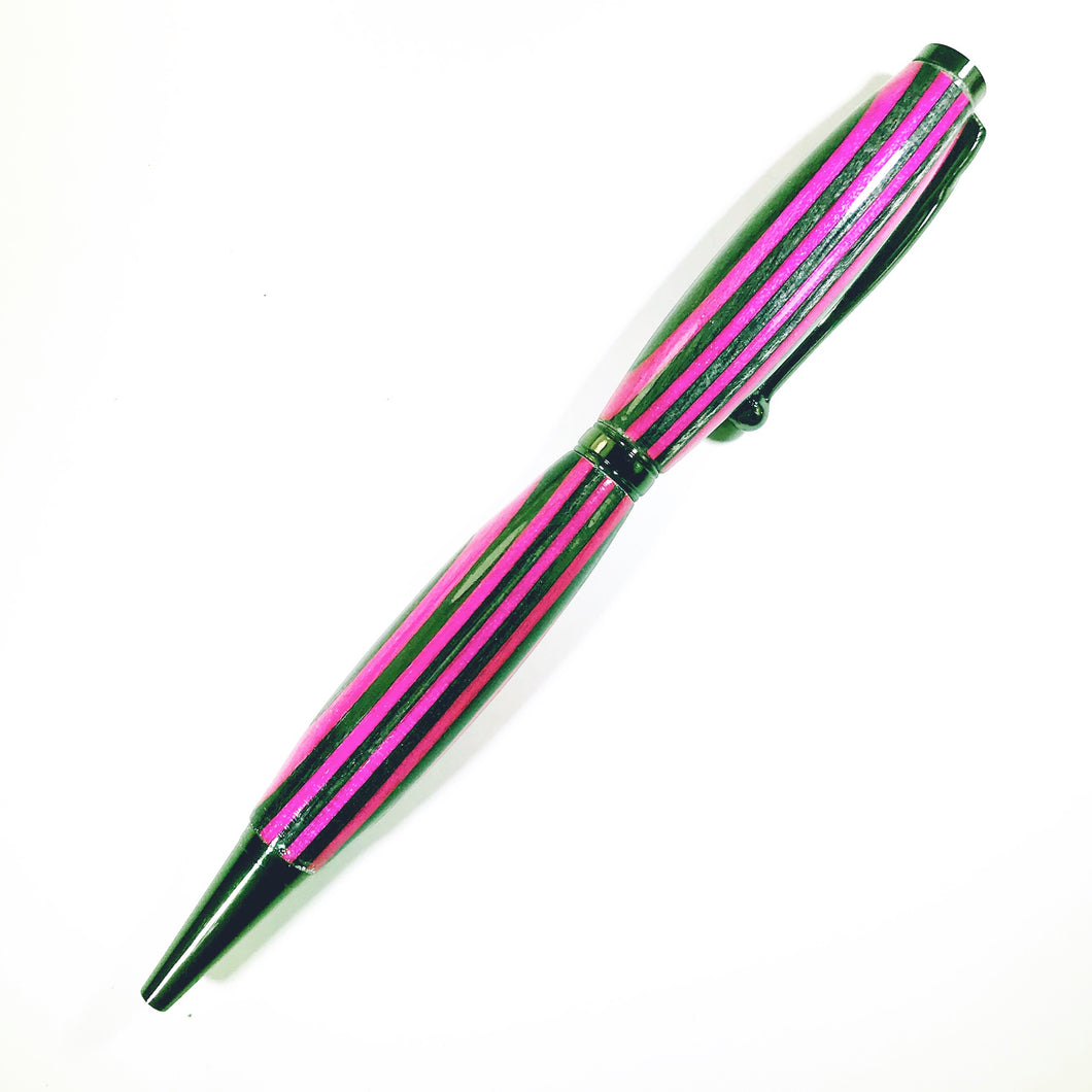 Pink and Black Striped Pen