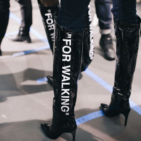 off white for walking over the knee boots