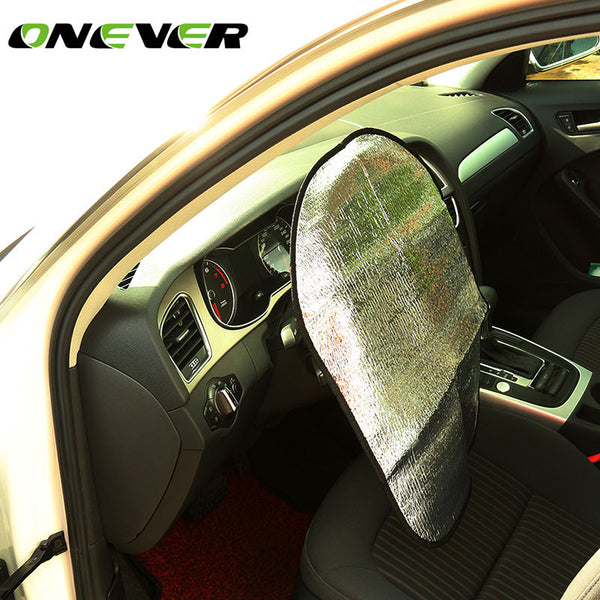 Onever Thick Aluminum Foil Automotive Car Steering Wheel Sun Shade Cover Sunlight Refracting car cover protective steering wheel