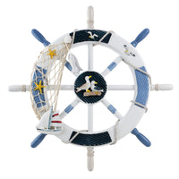 WINOMO Wheel Wall Decor Nautical Decor Nautical Boat Steering Wheel with Alete Nails