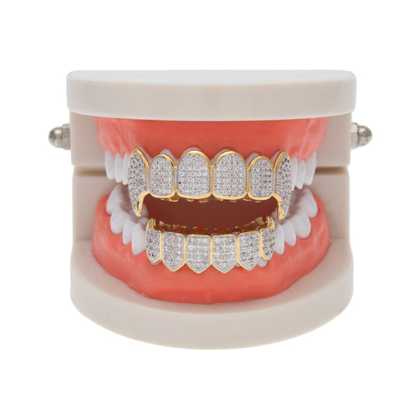 14k Gold Micropave Vampire Grill Set
