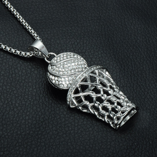 Silver Iced out Basketball Pendant