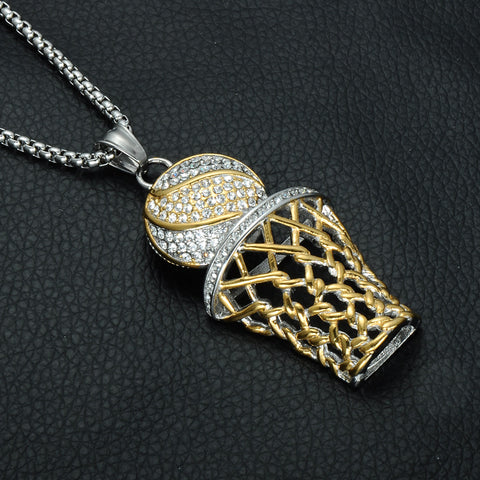 18k Gold/Silver Combo Iced out Basketball Pendant