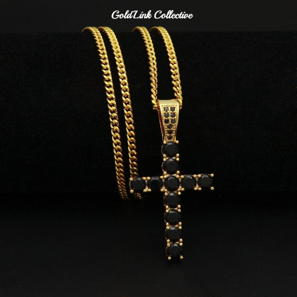 14k Gold Onyx Cross Necklace
