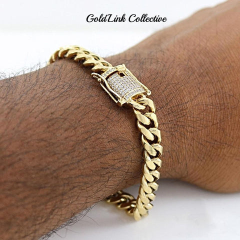 18k Gold Diamond Box Clasp Cuban Link Bracelet