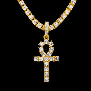 18k Gold Diamond Ankh Key Necklace with Diamond Tennis Chain