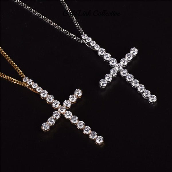 14k Gold or Silver Skinny Diamond Cross Pendant