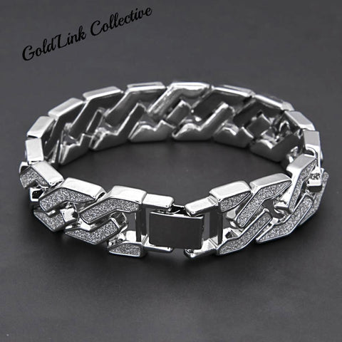 15mm Diamond Sand Cuban Link Bracelet