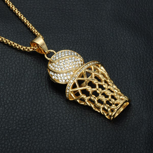 18k Gold Iced out Basketball Pendant