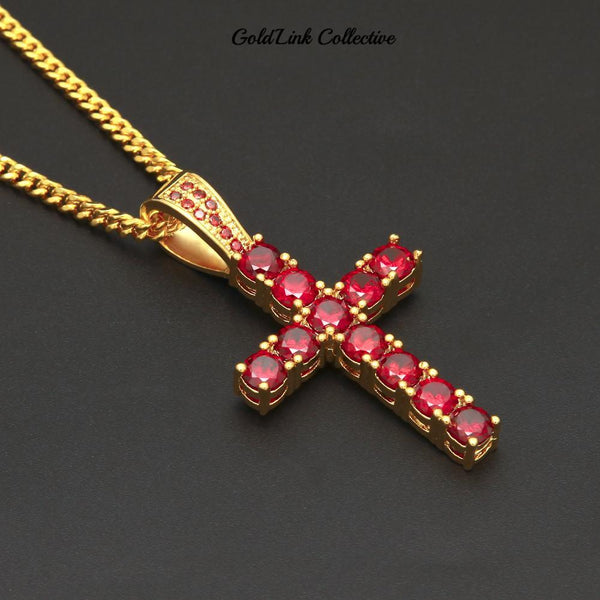 14k Gold Ruby Cross Necklace