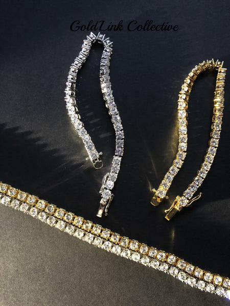 18k Gold/Silver Diamond Tennis Bracelets