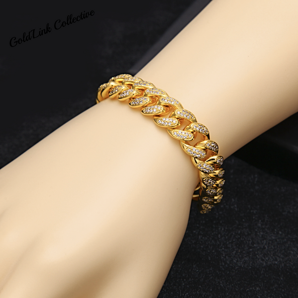 18k Gold 13mm Diamond Cuban Link Bracelet