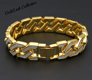 18k Gold 15mm Diamond Sand Cuban Link Bracelet