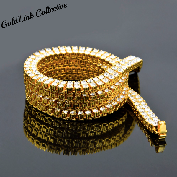 18k Gold Double Row Diamond Tennis Chain