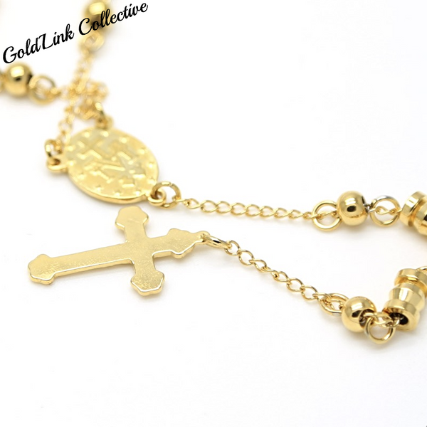 18k Gold Rosary Necklace