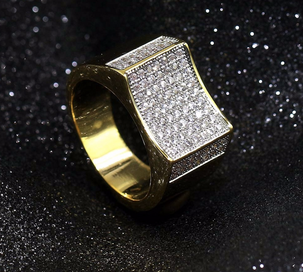 14k Gold Diamond Concave Ring