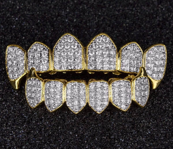 14k Gold Outline Micropave Grill Set